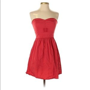 Macys bebop red strapless dress buttons pleated